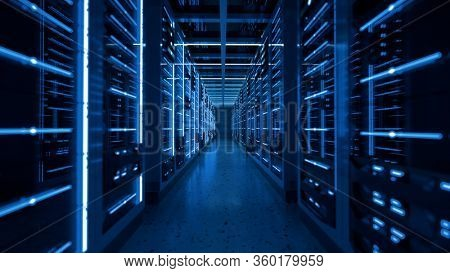 Server racks in computer network security server room data center. 3D render dark blue