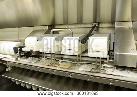 Pharmaceutical Industry. Production Line. Fill Bottles And Ampoules For Solid Particles In Liquid An