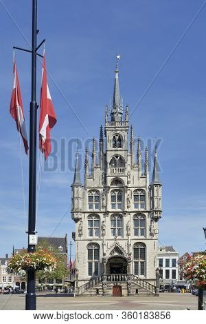 Gouda Stadhuis Or Town Hall Heritage Building On Grote Markt,the Netherlands. No People