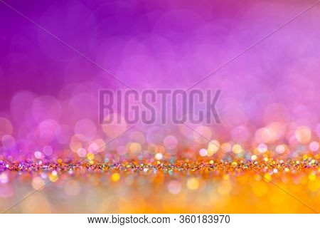 Decoration Bokeh Glitters Background, Abstract Glowing Backdrop With Circles, Modern Design Overlay