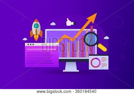 Seo Ranking Growth Digital Marketing Analysis On A Purple Background
