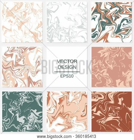 Set Of Abstract Backgrounds In Marble Style. Elements For Design Of Packaging Or Invitations.