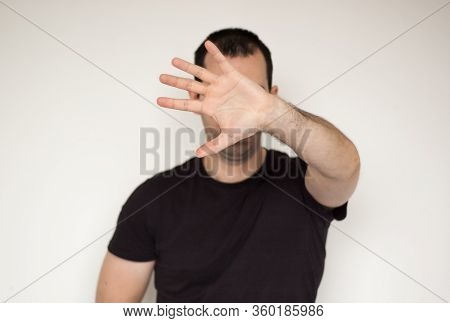 White Male Man Ignore Stop Concept Leave Me Allone Not Listen Black Tshirt Hand Stop