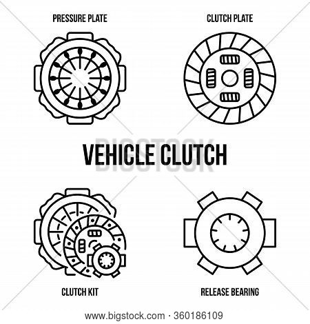 Vehicle Clutch Kit Flat Line Icons. Clutch Disc Plate, Cover, Release Bearing. Vector Illustrations