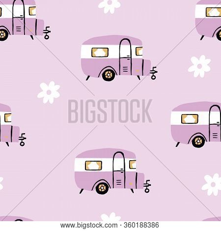 Seamless Repeat Retro Camper. Vintage Rv Seamless Pattern With Pink Background And Daisies.