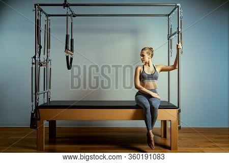 Leotard Workout Pilates Training. Athletic Pilates Reformer Exercises. Pilates Machine Equipment. Yo