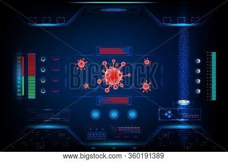 Coronavirus (2019-ncov) With Research Technology Futuristic Interface Element Digital Design Innovat