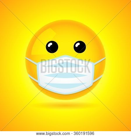 Emoji With Guard Mouth Mask - Yellow Face With Open Eyes Wearing A White Surgical Mask. Vector Smile