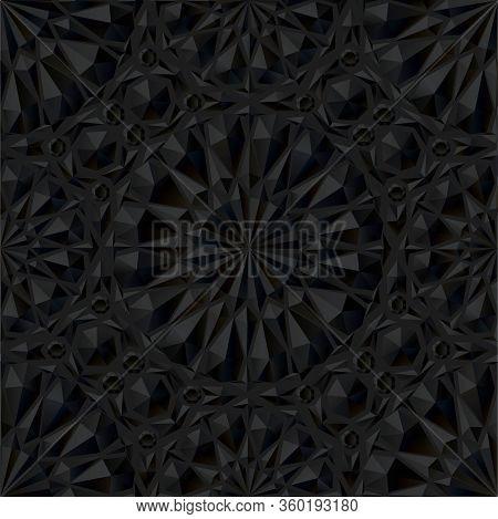 Stock Vector Illustration Black Polygonal Extrusion Pattern.