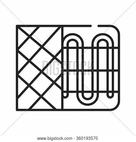 Heater Black Line Icon. Device For Supplying Heat, For Example A Radiator Or A Convector. Pictogram