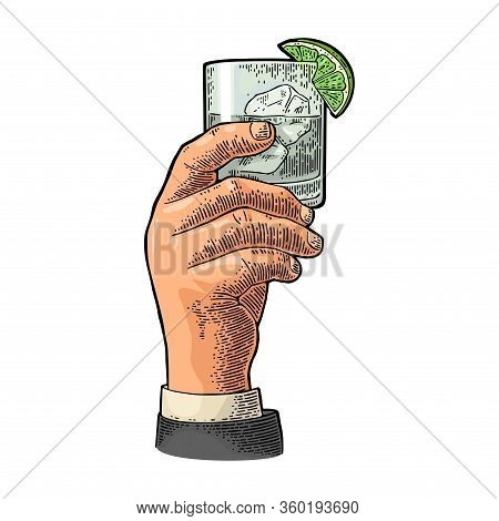 Male Hand Holding Glass Gin. Vintage Vector Engraving