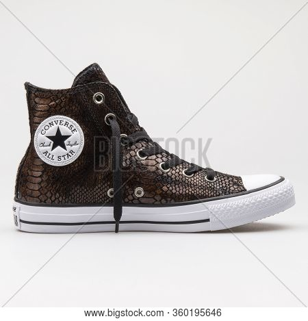 Vienna, Austria - August 14, 2017: Converse Chuck Taylor All Star High Brown, Black And White Sneake