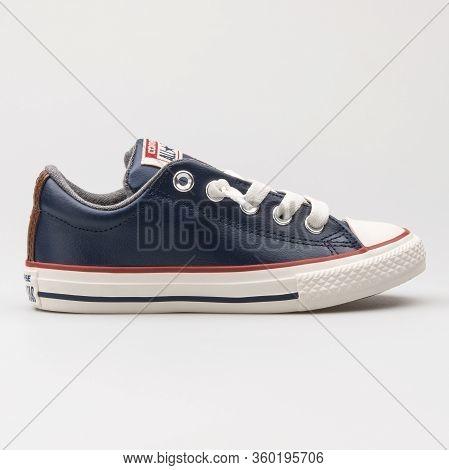 Vienna, Austria - August 14, 2017: Converse Chuck Taylor All Star Street Slip Navy Blue Sneaker On W
