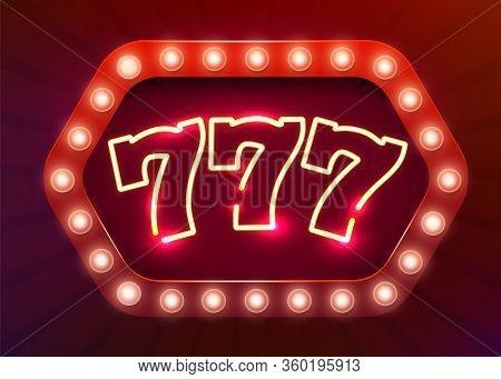 Neon 777 Slots Sign. Casino Neon Signboard. Online Casino Concept.