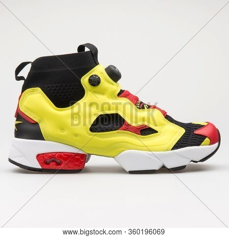 Vienna, Austria - August 14, 2017: Reebok Instapump Fury Og Ultk Yellow, Black And Red Sneaker On Wh