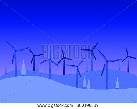 Renewable Energy. Windmills Night Landscape. Evening Twilight. Wind Generators Green Energy. Vector