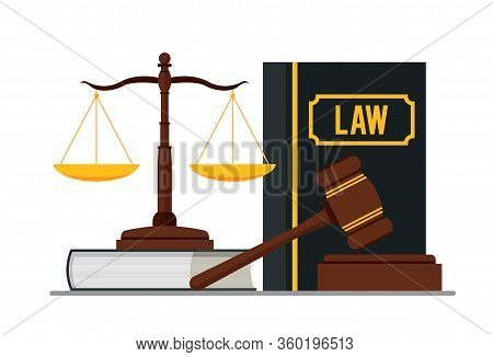 Law And Justice Concept Isolated On Blue Background. Scales Of Justice, Gavel And Books. Vector Stoc