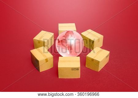 Earth Globe Surrounded By Boxes. Global Distribution Business System For Products And Goods Around T