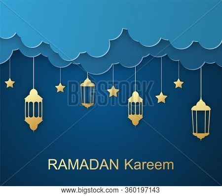 Happy Ramadan Kareem Days - Islamic Holy Month. Greeting Card. Vector Illustration. Place For Text