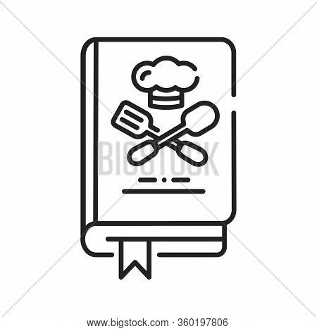 Culinary Book Black Line Icon. A Kitchen Reference Containing Recipes. Pictogram For Web Page, Mobil