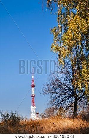 Radar Station With Tower Among Colorful Autumn Nature. Lysa Hora, Kiev, Ukraine