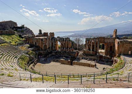 Taormina, Sicily - February 14, 2020: Teatro Antico Di Taormina (ancient Amphitheatre) In Sicily, It