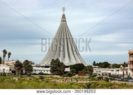 Siracusa, Sicily - February 13, 2020: Cityscape With Beata Maria Vergine Delle Lacrime Cathedral In