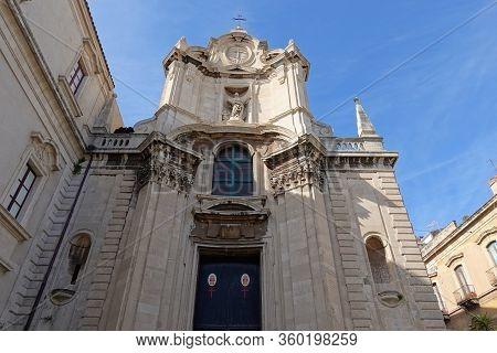 Catania, Sicily - February 12, 2020: San Camillo Ai Crociferi (church Of St. Camillus) In Center Of
