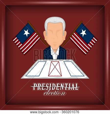 Man Avatar With An Electoral Card And Flags In A Presidential Election Poster. Presidential Candidat