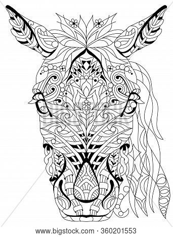 Zentangle Horse Head With Mandala. Hand Drawn Decorative Vector Illustration For Coloring