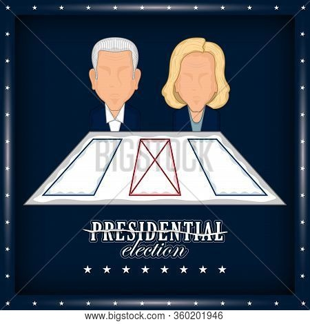 Man And Woman Avatars With An Electoral Card In A Presidential Election Poster. Presidential Candida