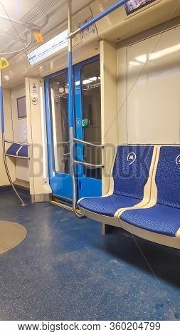 1 March, 2020, Moscow, Russia.interior View Of A Subway Car In Moscow, Russia. Inside Russian Metro