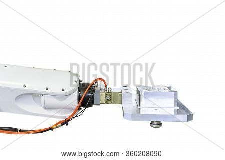 Robot Arm Catch And Lift Product Workpiece For Setting On Fast Or Quick Flexible Holder Clamp For Ma