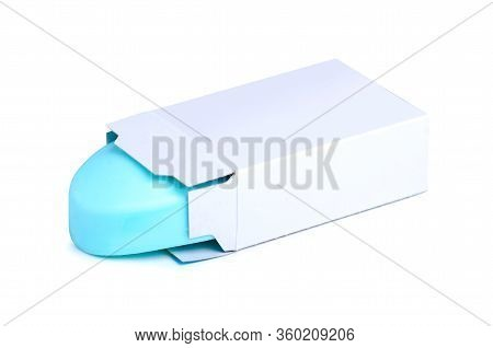Blue Soap In Box Beauty On White Background Isolation