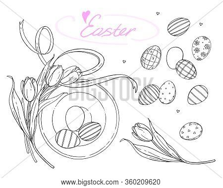 Festive Vector Easter Decorating Set. Tulips And Ornamental Eggs On A White Background. Spring Illus
