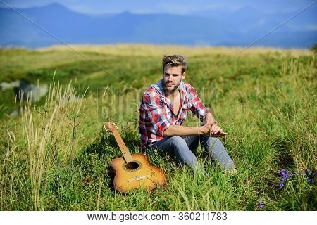 Guy With Guitar Contemplate Nature. Inspiring Nature. Pleasant Time Alone. Musician Looking For Insp