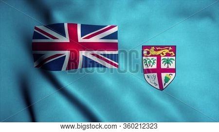 Fiji Flag Waving In The Wind. National Flag Of Fiji. Sign Of Fiji. 3d Rendering.