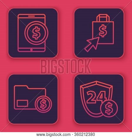 Set Line Tablet With Dollar, Envelope With Coin Dollar, Shoping Bag And Dollar And Shield With Dolla