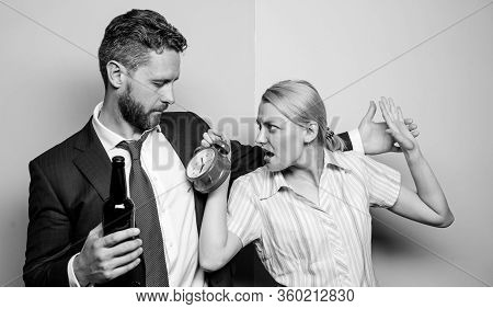 Stop Drinking. Girl Meet Alcoholic Guy. Wife And Drunk Husband Drinking. Alcoholism Problem. Unaccep