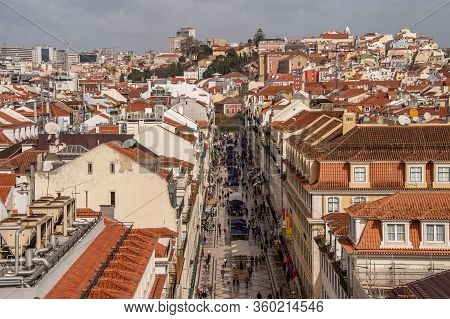 Lisbon, Portugal - 2 March 2020: Top View Of People Walking On Rua Augusta