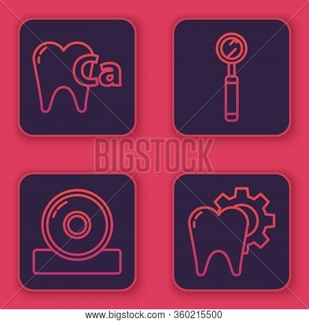 Set Line Calcium For Tooth, Otolaryngological Head Reflector, Dental Inspection Mirror And Tooth Tre