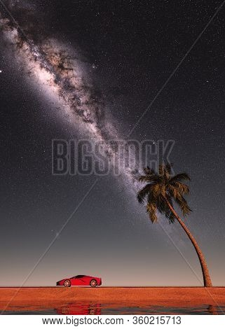 Car On Road At Dusk With Milky Way. 3d Illustration With A Car And A Palmier Tree. Road Trip. Space