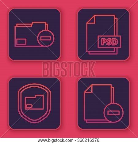 Set Line Document Folder With Minus, Document Folder Protection, Psd File Document And Document With