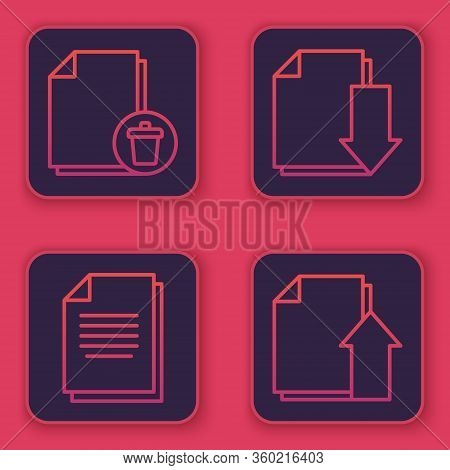 Set Line Delete File Document, Document, Document With Download And Upload File Document. Blue Squar