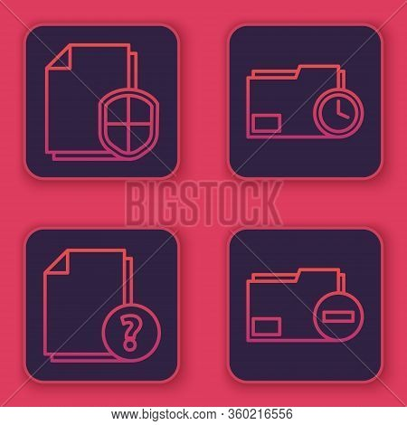 Set Line Document Protection Concept, Unknown Document, Document Folder With Clock And Document Fold