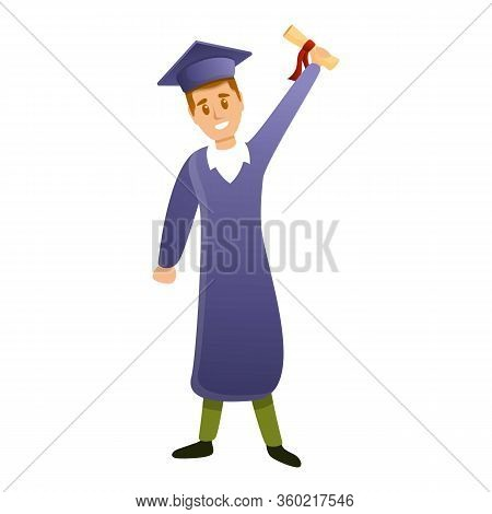 Graduated Student Diploma Icon. Cartoon Of Graduated Student Diploma Vector Icon For Web Design Isol