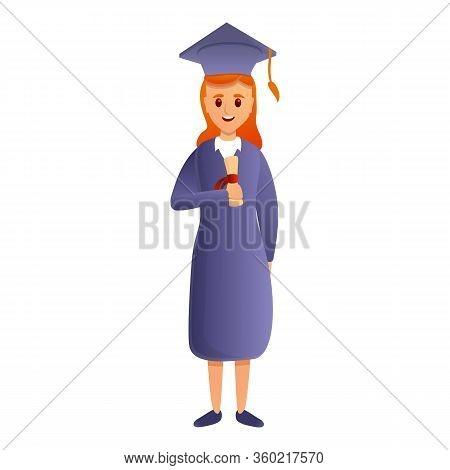 Graduated University Girl Icon. Cartoon Of Graduated University Girl Vector Icon For Web Design Isol