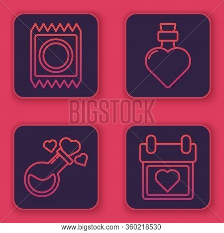 Set Line Condom In Package, Bottle With Love Potion, Bottle With Love Potion And Calendar With Heart