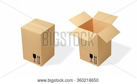 Brown Tall Cardboard Opened And Closed Box. Realistic Vector Illustration For Moving Service Or Ware