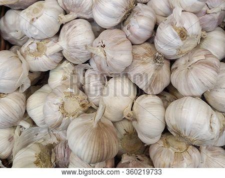 White Garlic Pile Texture. Fresh Garlic On Market Table Closeup Photo. Vitamin Healthy Food Spice Im
